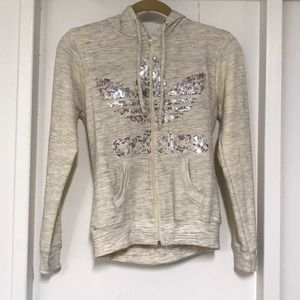 Adidas off white heather Floral sequin zip up